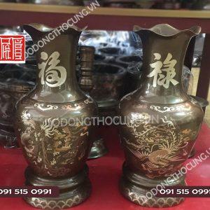 Doi Lo Hoa Phuc Loc Cu Toi Bang Dong 42cm