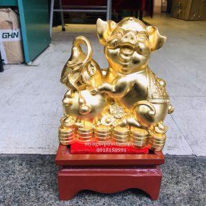 Tượng Heo Bằng đồng Dát Vàng 2 (2)