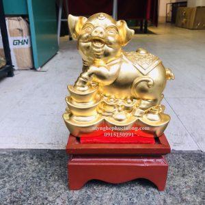 Tượng Heo Bằng đồng Dát Vàng 3 (3)