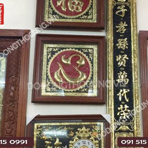 Tranh Dong Chu Tam Khung Go Thit 50cm