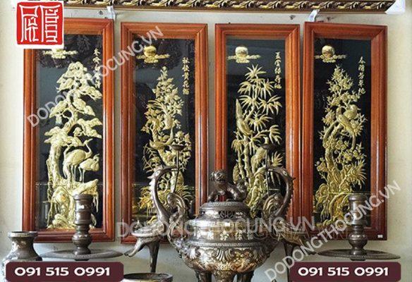 Tranh Dong Tu Quy Tung Cuc Truc Mai 1m