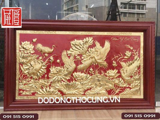 Tranh Sen Hac Bang Dong Khung Gu Phu Vang 24 K