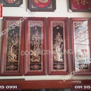 Tranh Tu Quy Bon Mua Khung Go Huong Do