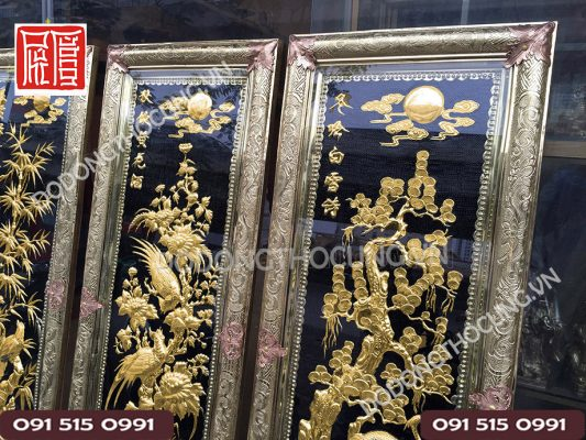 Tranh Tu Quy Ma Vang 24k(2)