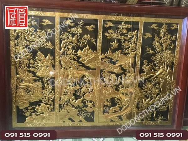 Tranh Tu Quy Tam Lien Ma Vang 1m5