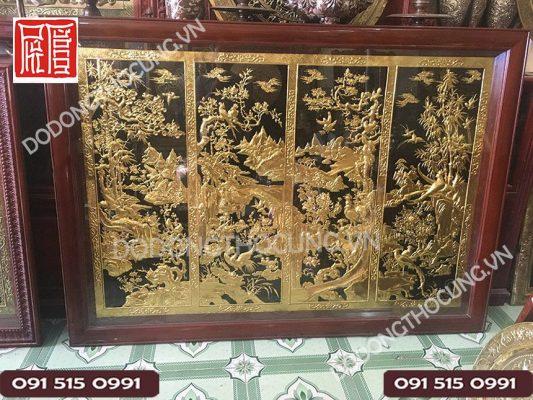 Tranh Tu Quy Tam Lien Ma Vang 1m5(2)